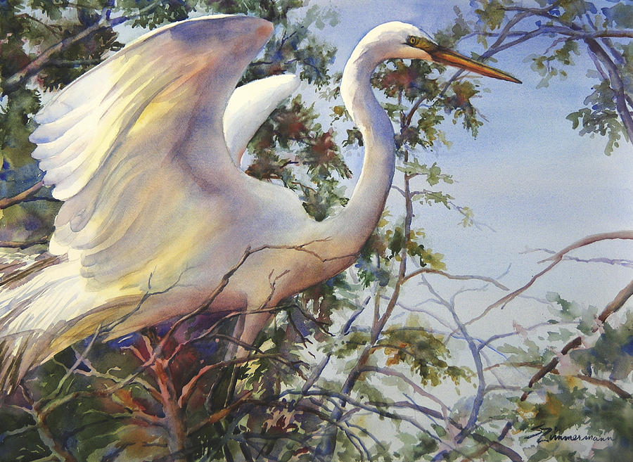 Great Egret Painting - Nesting Egret by Sue Zimmermann