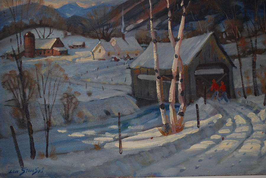 Covered Bridge Painting - Nestled In The Berkshires by Len Stomski