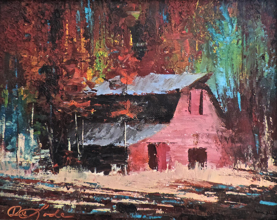 Barns Painting - Nestled in the Pines by Mia DeLode
