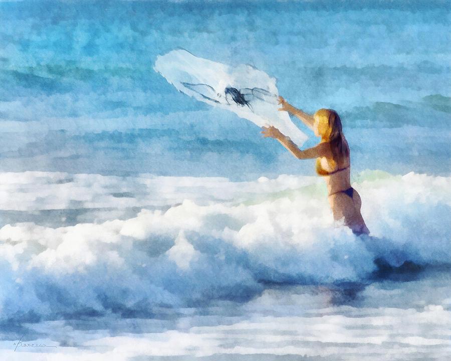 Woman Digital Art - Net Fishing The Sea by Francesa Miller