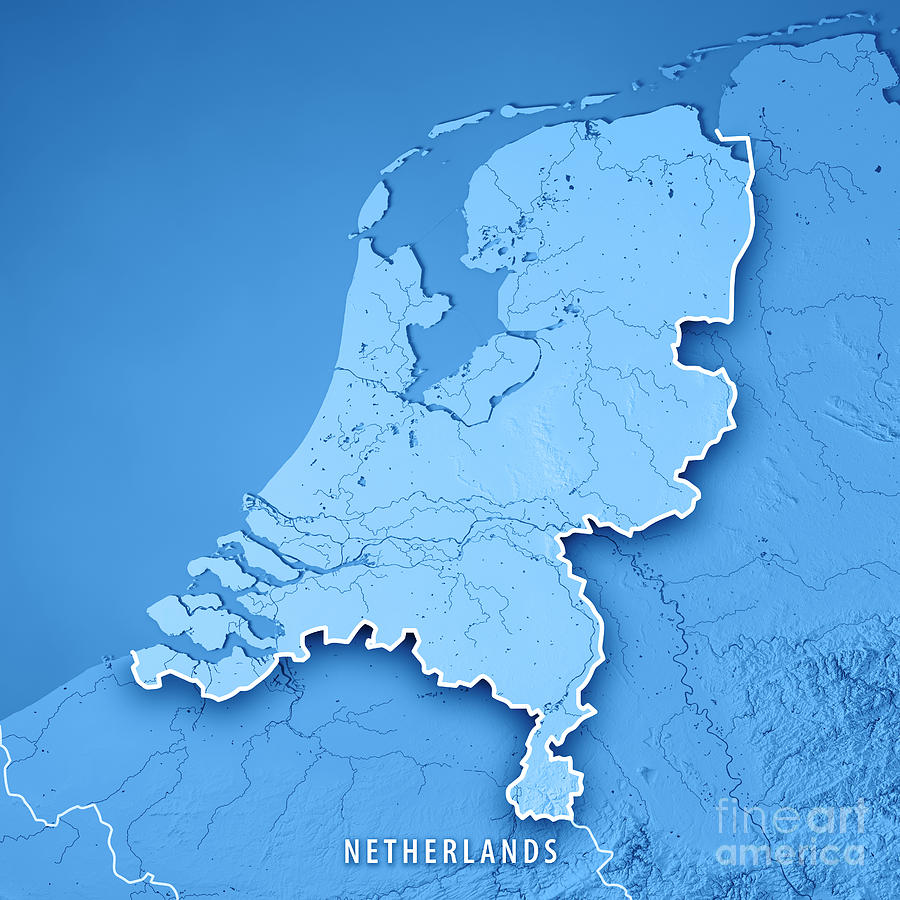 Netherlands Topographic Map.Netherlands Country 3d Render Topographic Map Blue Border Digital