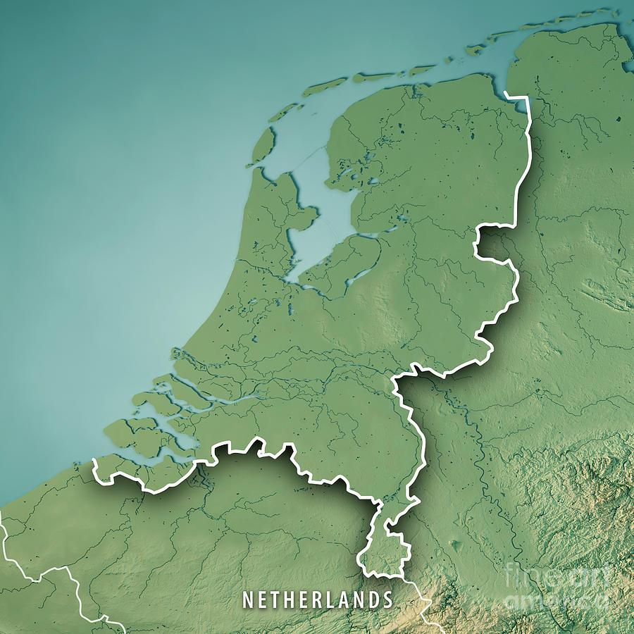 Netherlands Topographic Map.Netherlands Country 3d Render Topographic Map Border Digital Art
