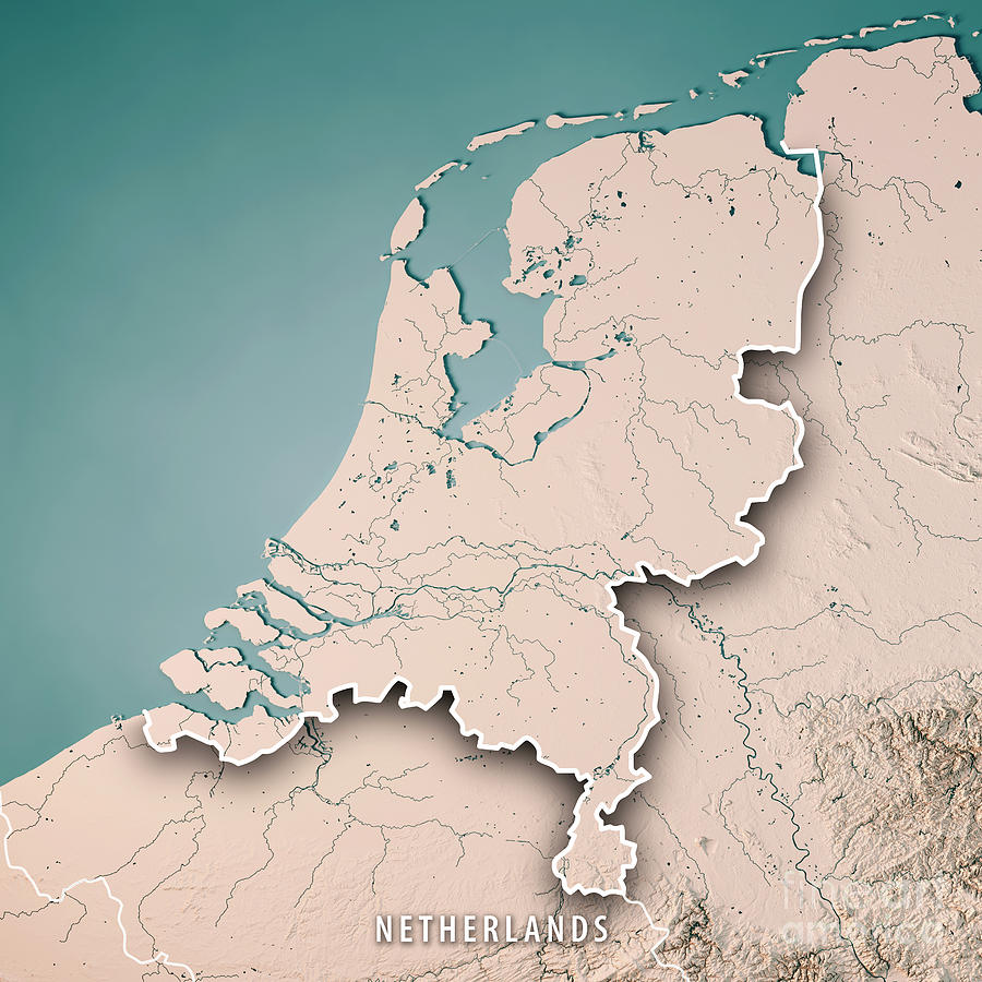 Netherlands Topographic Map.Netherlands Country 3d Render Topographic Map Neutral Border