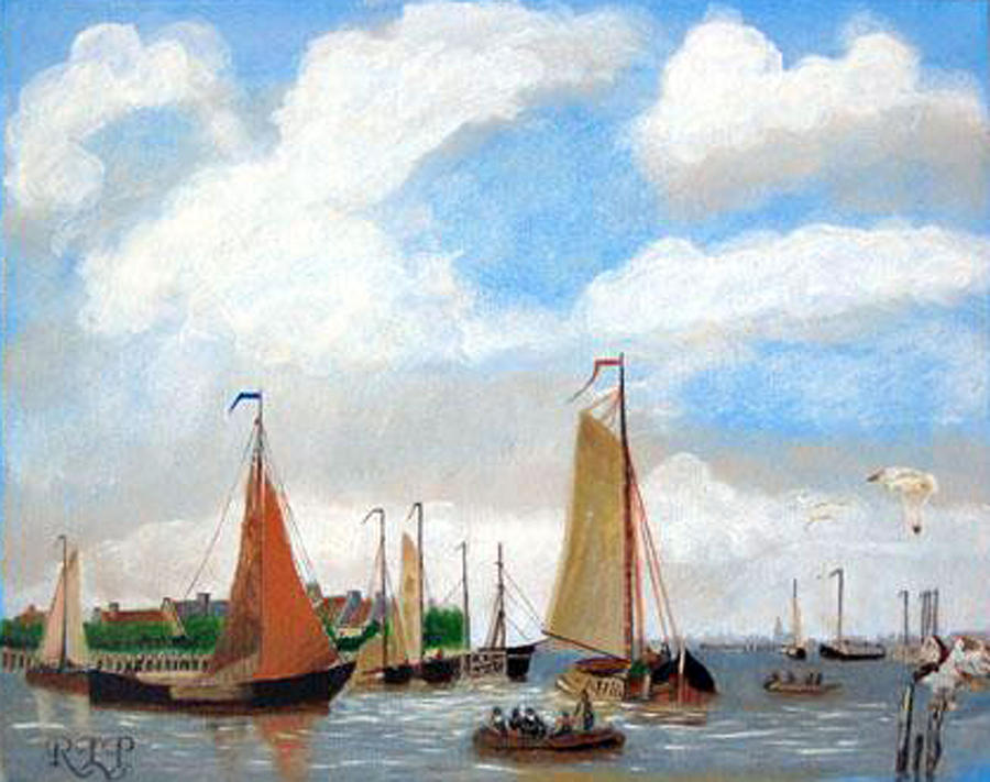 Netherlands Painting - Netherlands Harbour by Richard Le Page