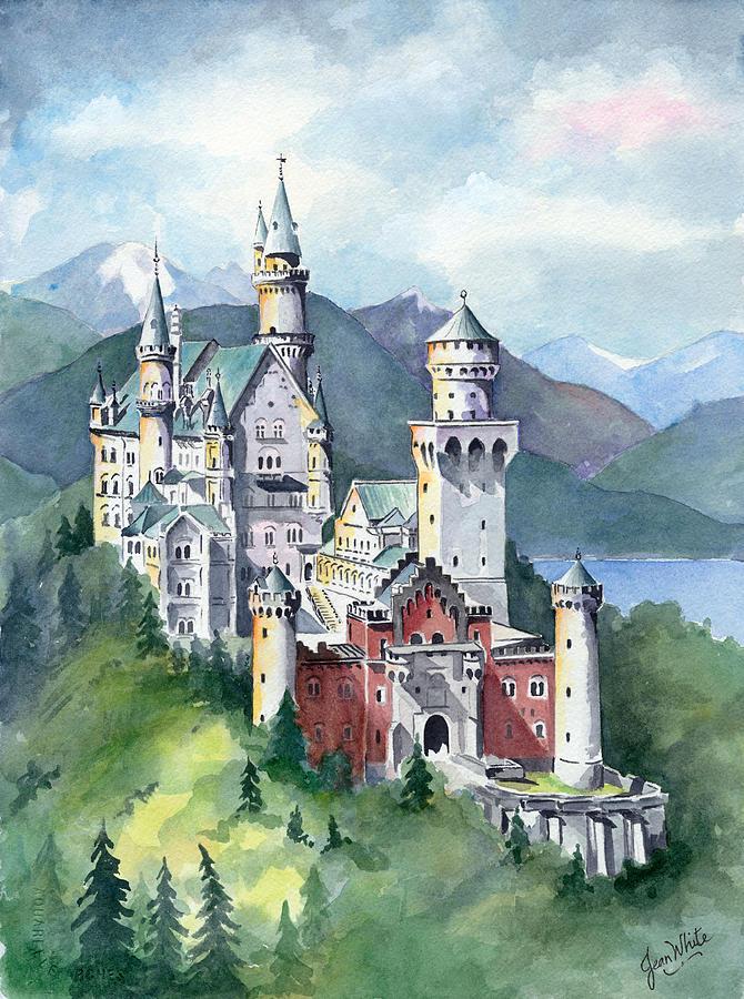 Europe Painting - Neuschwanstein by Jean Walker White