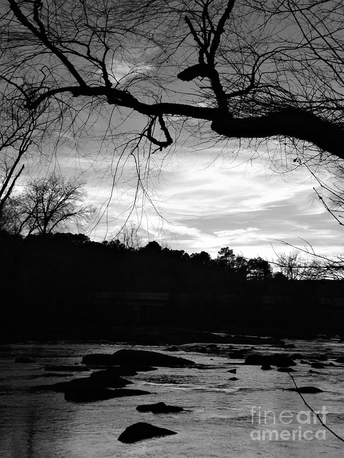 Neuse River At Dusk - Black And White Edit Photograph