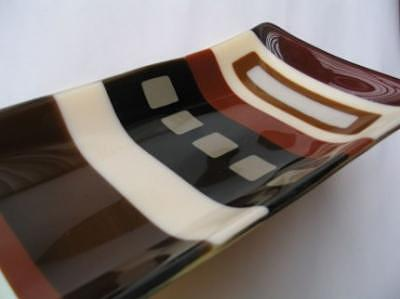 Fused Glass Glass Art - Neutral Platter by Sarah Merrion