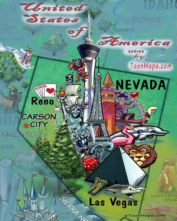 Nevada Fun Map Digital Art