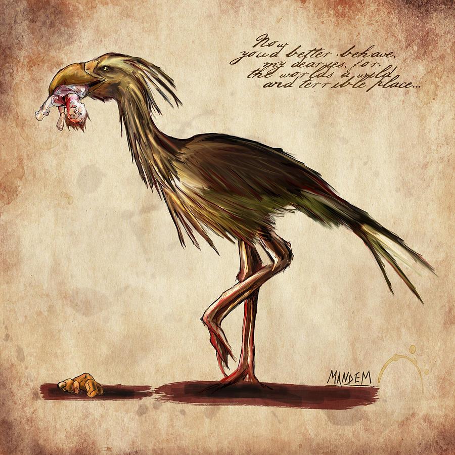 Fantasy Drawing - Never Bird by Mandem