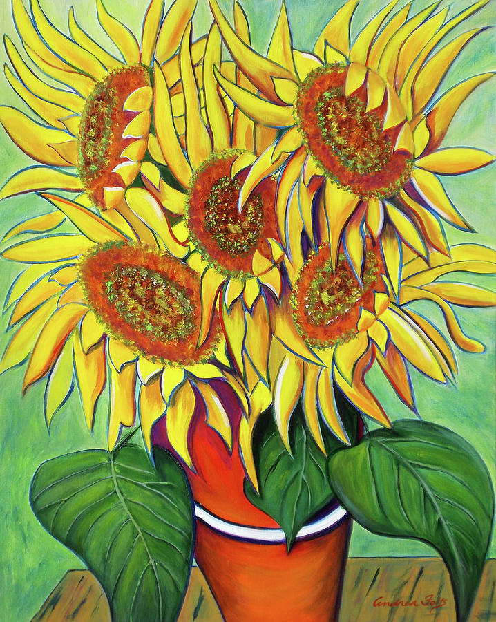 Sunflowers Painting - Never Enough Sunflowers by Andrea Folts