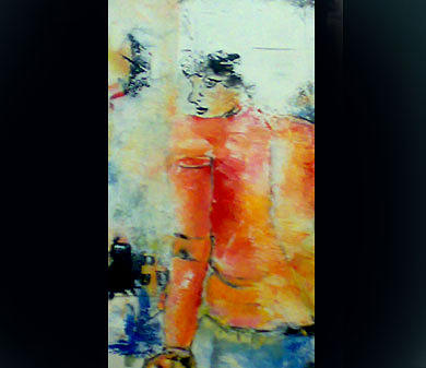 Figurative Abstract Painting - Never Look Backward by Talal  Ghadban