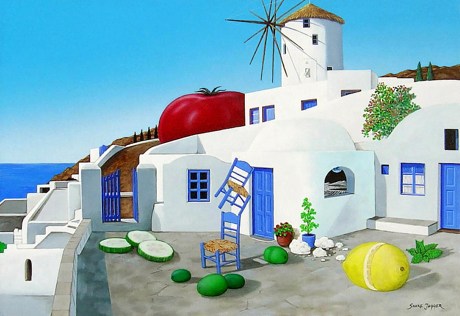 Greece Painting - Never On Tuesday by Snake Jagger