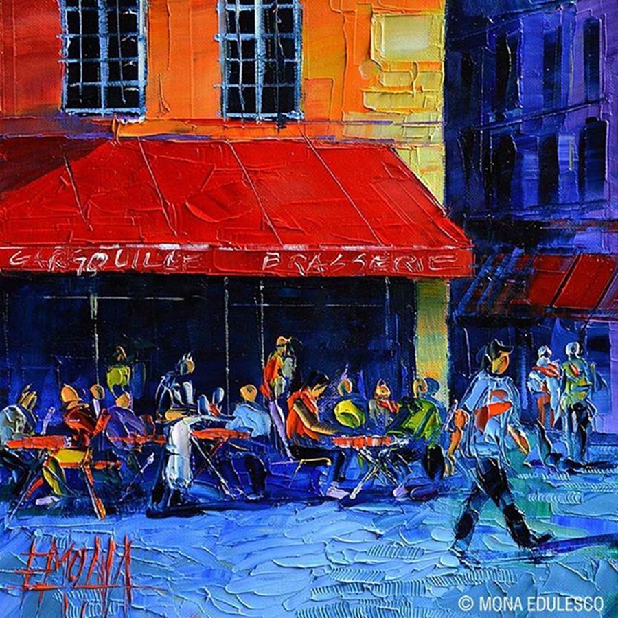 Artshow Photograph - New! - café Gargouille 25x25 Cm by Mona Edulesco