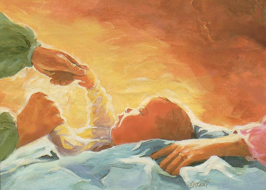 Baby Painting - New Baby by Linda Crockett
