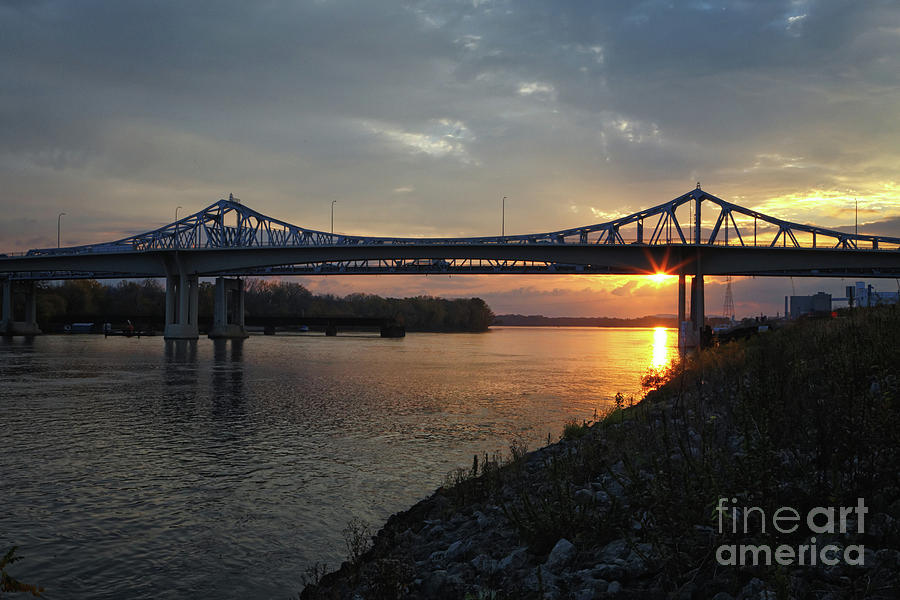 New Bridge at Winona Minnesota Sunrise by Kari Yearous