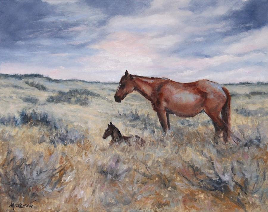 Horse Painting - New Day by Debra Mickelson