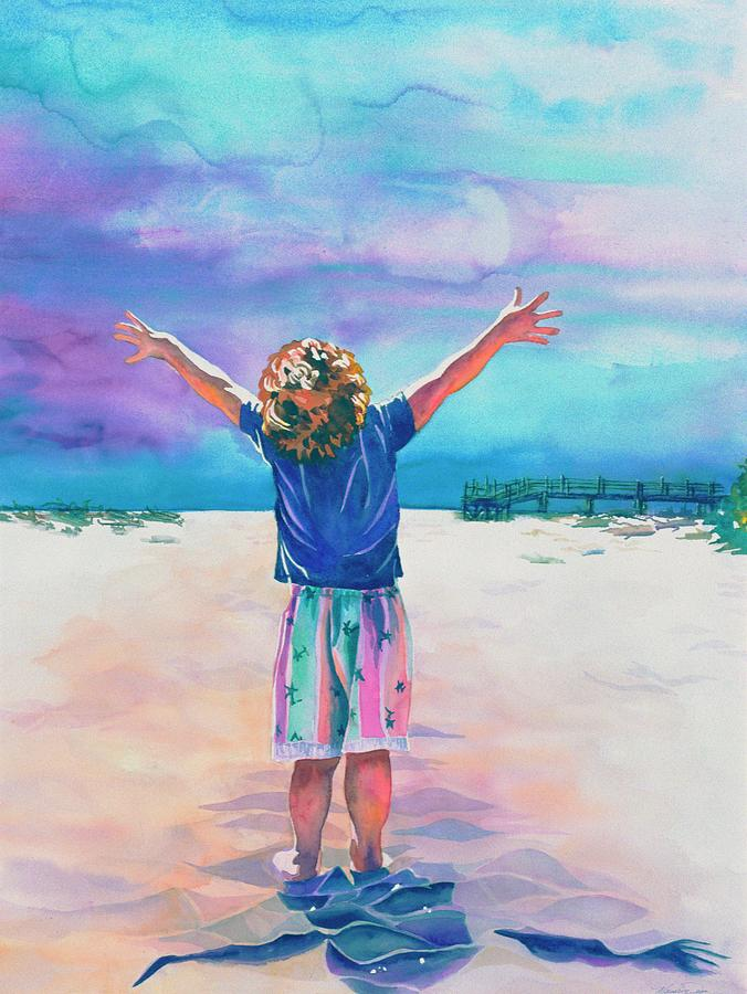 Children At The Beach Painting - New Day by Maureen Dean
