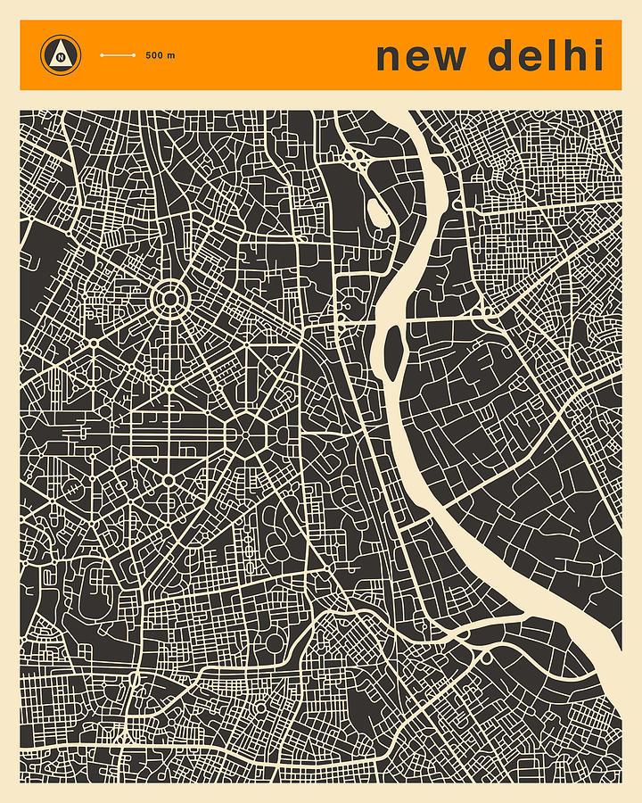 New Delhi Digital Art - New Delhi Map by Jazzberry Blue