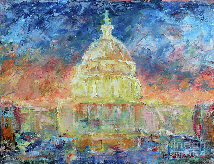 U.s. Capitol Dome Painting - New Dome Dawning by Elizabeth Roskam