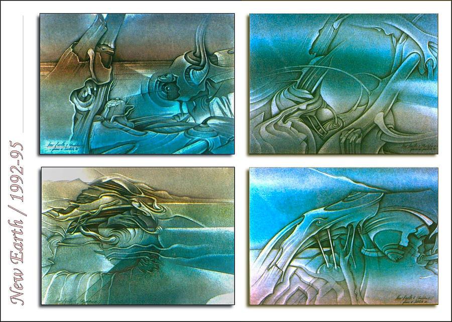 Earth Drawing - New Earth 1992-95 by Glenn Bautista