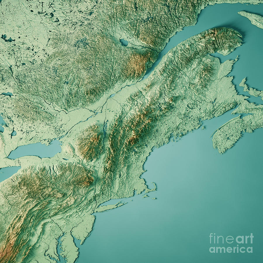 New England 3d Render Topographic Map Color Digital Art by Frank ...