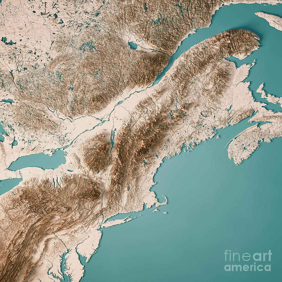 Topographic Map Of New England.New England 3d Render Topographic Map Neutral Digital Art By