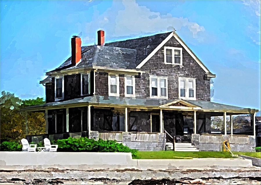 New England Beach House Mixed Media by Bob Sandler