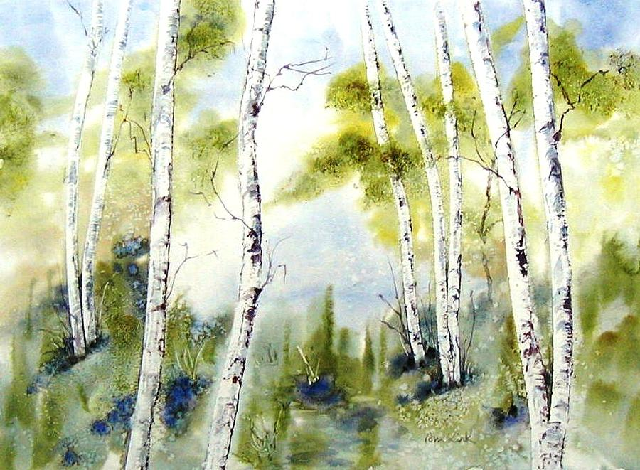 Maine Painting - New England Birches by Diane Kirk