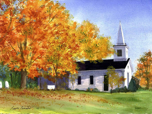 Buildings Painting - New England Church In Fall by Laura Tasheiko