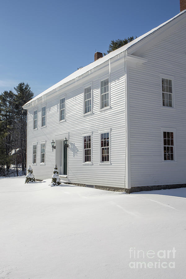 Winter Photograph - New England Colonial Home In Winter by Edward Fielding