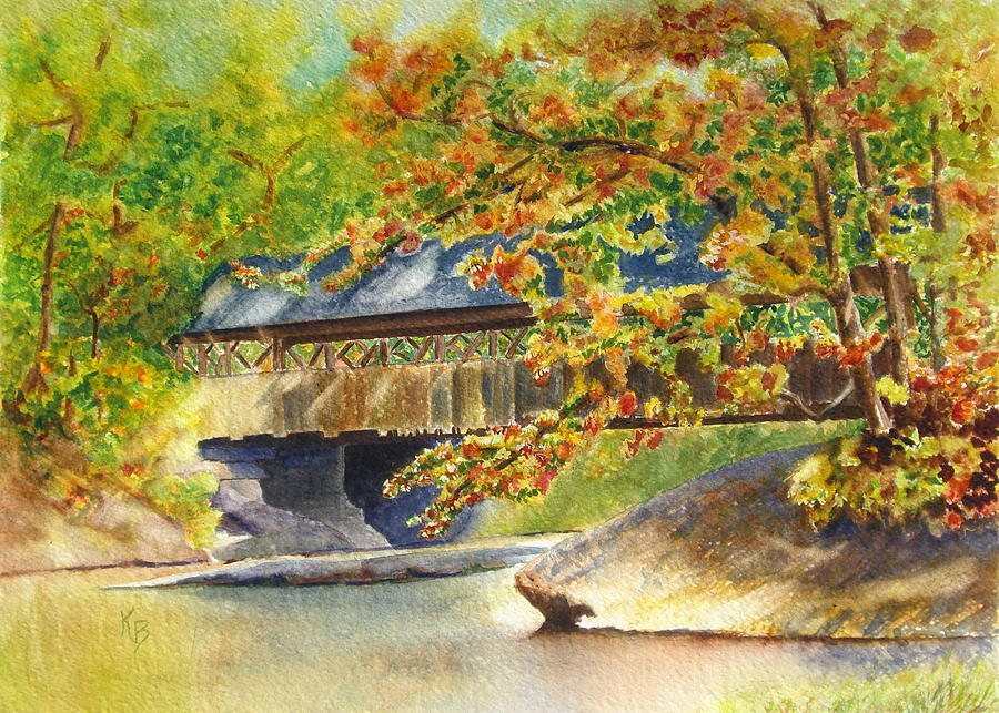 Autumn Painting - New England  Covered Bridge by Karen Fleschler