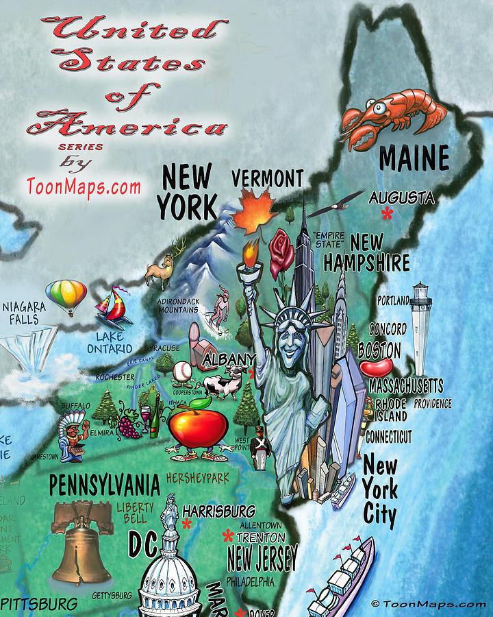 New England Fun Map Digital Art