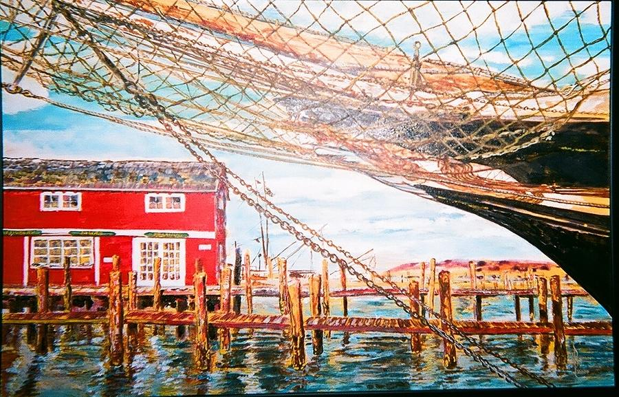 Ocean Painting - New England Harbor And Ship by Lulu Brymer