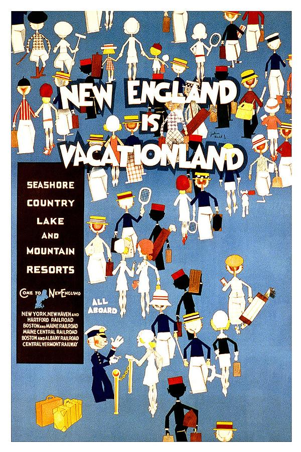 New England Is Vacationland - Seashore, Country, Lake And Mountain Resorts - Retro Travel Poster Mixed Media