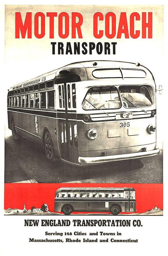 New England Transportation Co - Vintage Travel Poster Mixed Media