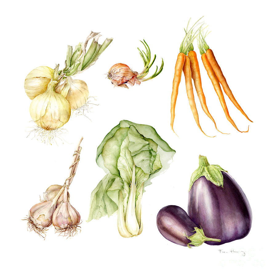 Square Painting - New Farmers Market Study by Fran Henig