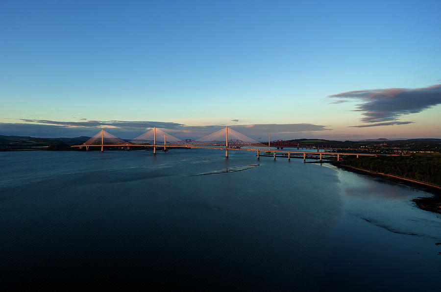 Forth Road Bridge Photograph - New Forth Road Bridge by Steev Stamford