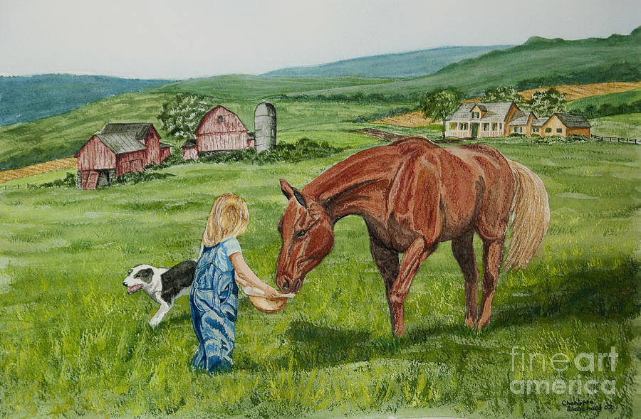 Country Kids Art Painting - New Friends by Charlotte Blanchard