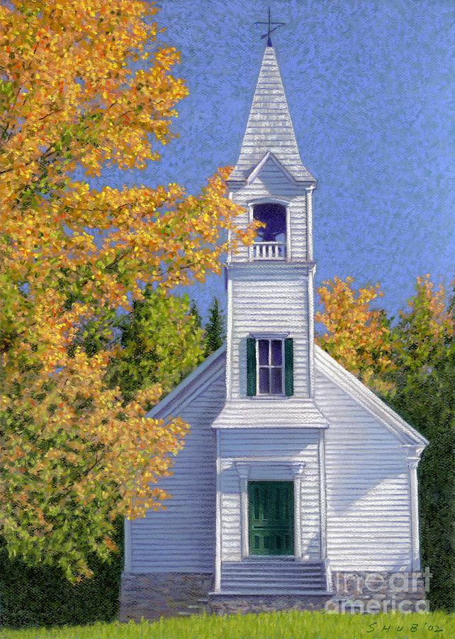 Church Pastel - New Hampshire Church by Stephen Shub