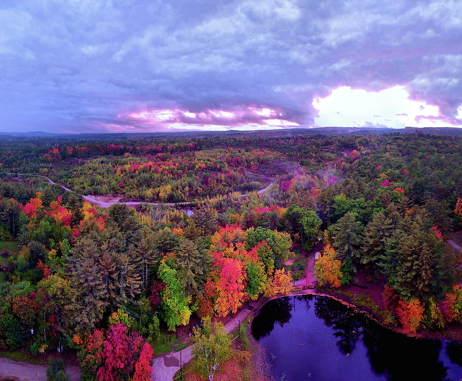 Epsom Photograph - New Hampshire Fall Sunset Over Pond by Michael Daniels