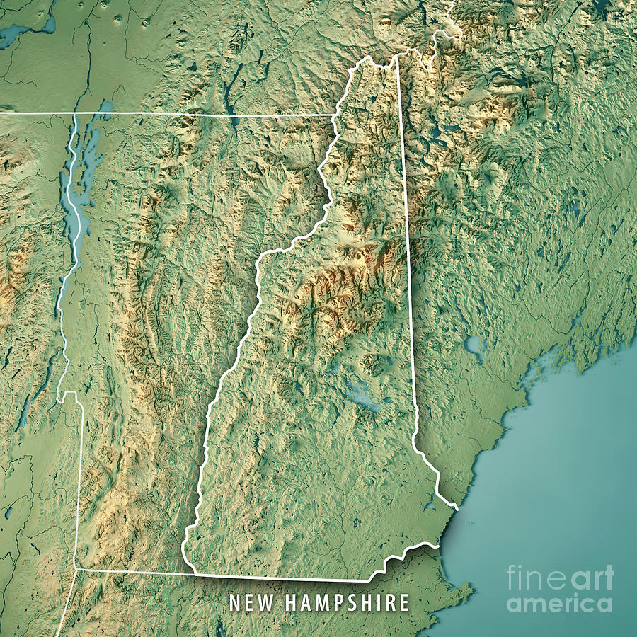 3d Topographic Map Of Usa.New Hampshire State Usa 3d Render Topographic Map Border By Frank Ramspott