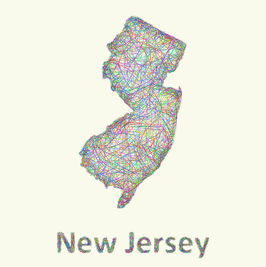Line Art Jersey : New jersey line art map digital by david zydd