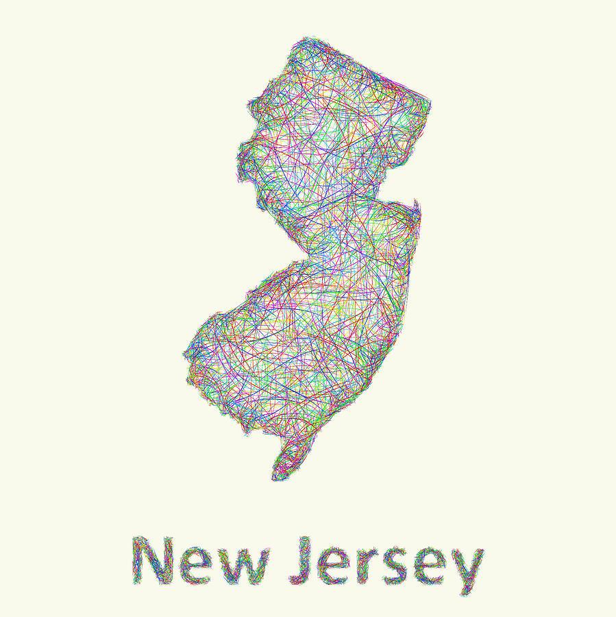 Line Art Nj : New jersey line art map digital by david zydd