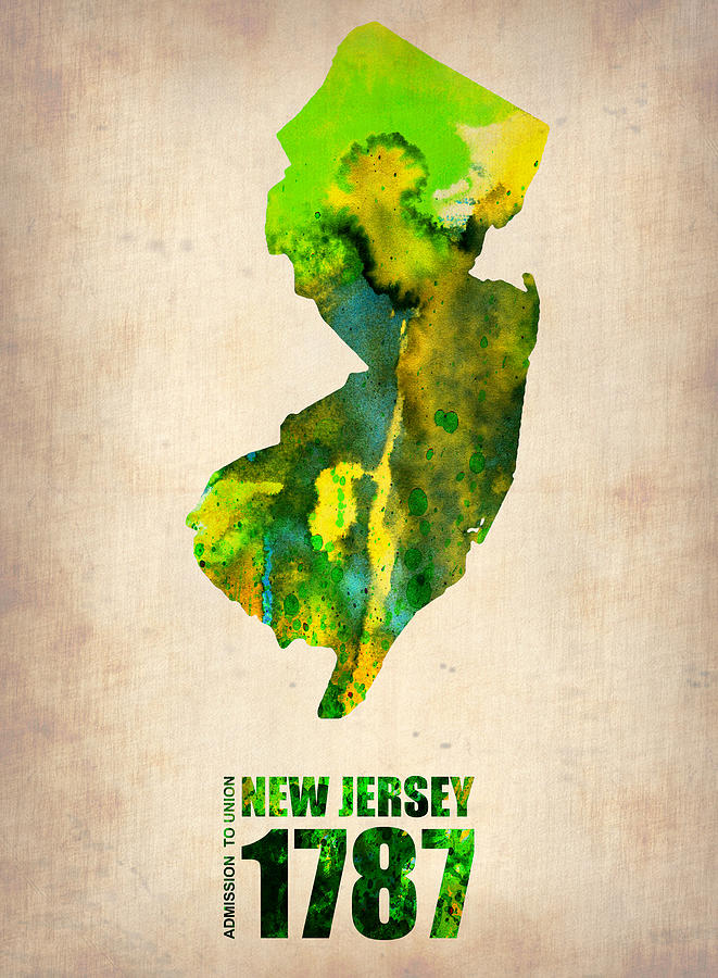 New Jersey Painting - New Jersey Watercolor Map by Naxart Studio