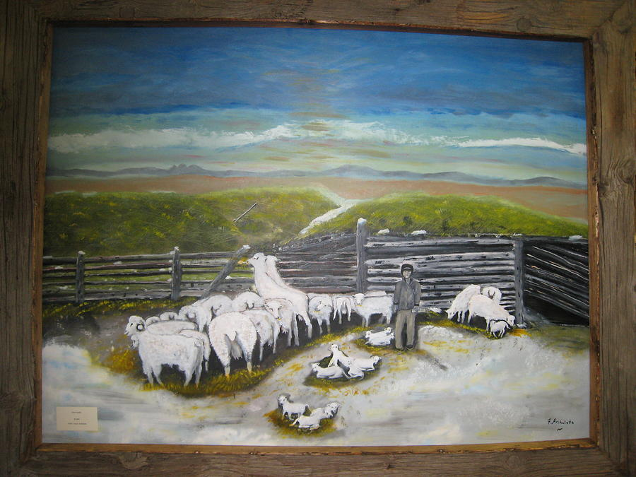 History Painting - New Lambs by Floyd Archuleta