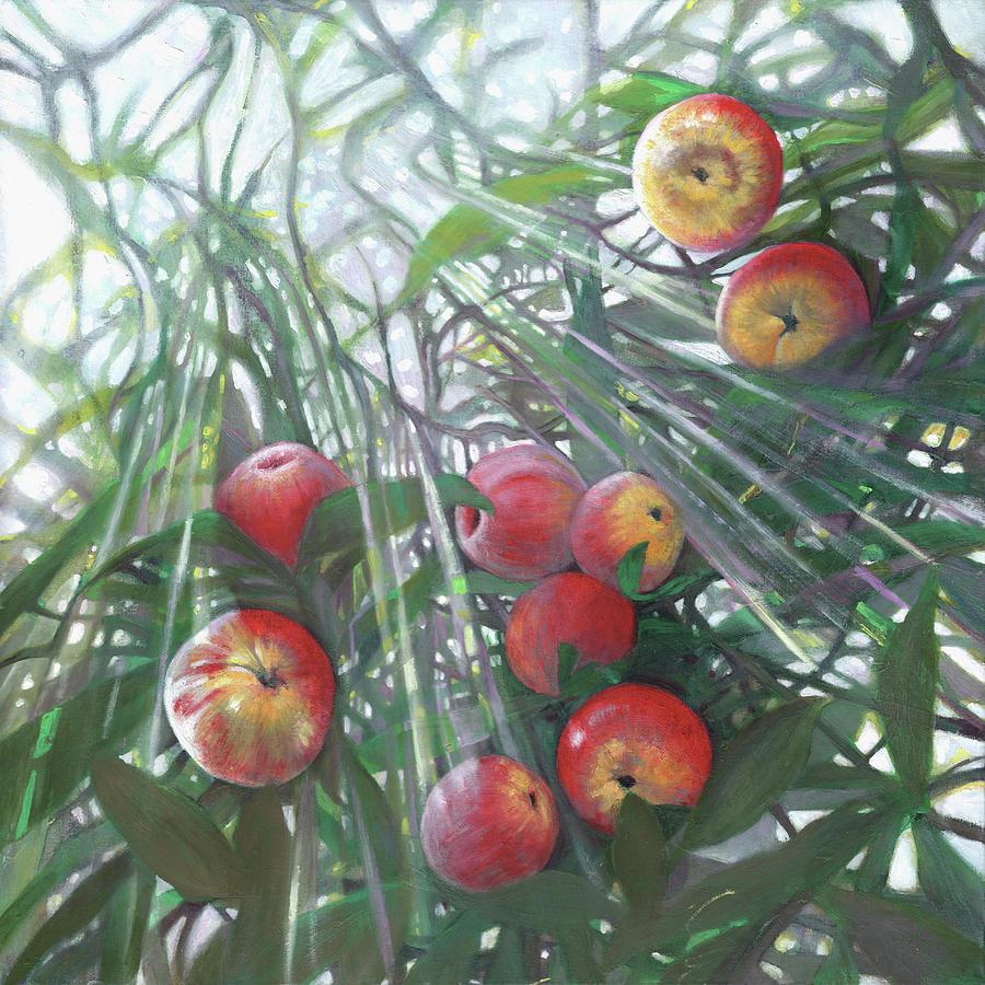 Apple Tree Painting - New Light On Eden by Helen White