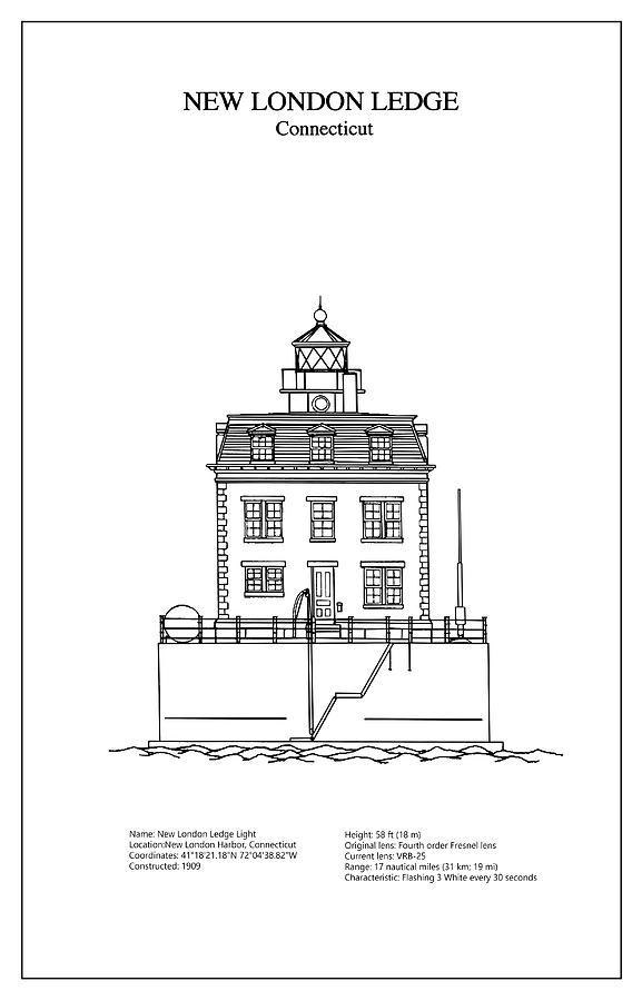 New london ledge lighthouse connecticut blueprint drawing connecticut digital art new london ledge lighthouse connecticut blueprint drawing by jose elias malvernweather Choice Image