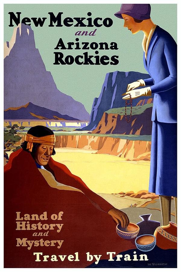 New Mexico And Arizona Rockies - Land Of History And Mystery - Retro Travel Poster - Vintage Poster Mixed Media