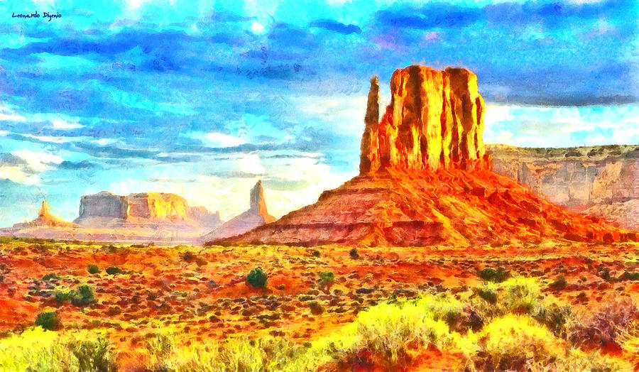 New Mexico Painting - New Mexico Beautiful Desert - Pa by Leonardo Digenio