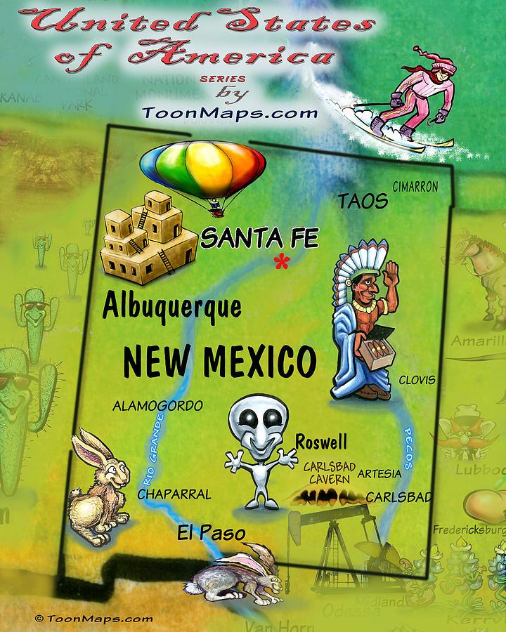 New Mexico Fun Map Digital Art
